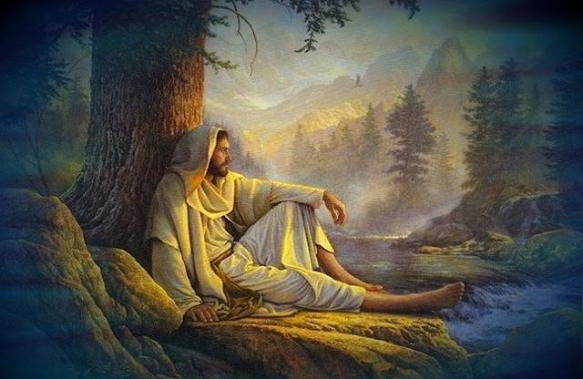 Jesus-Prays alone